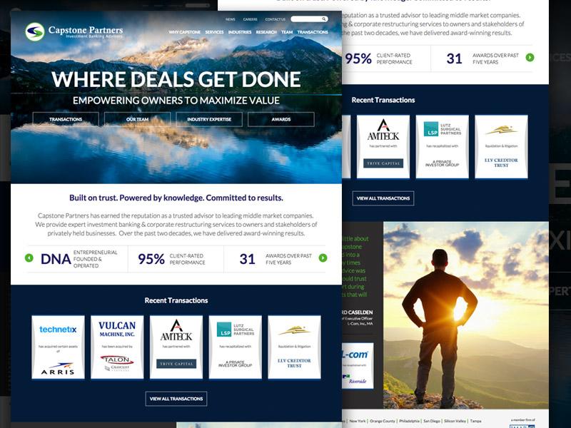 Capstone Partners Homepage financial website web design layout web