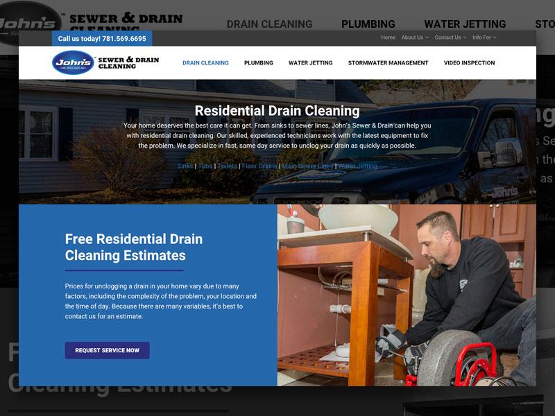 John's Drains Development drain cleaning web design layout web