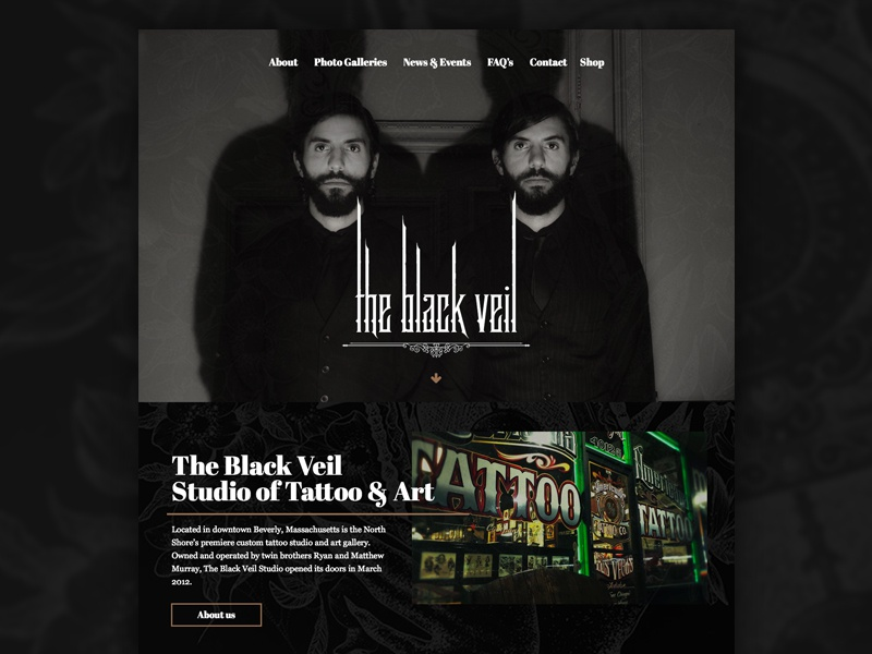 Black Veil Studio Redesign creepy website layout homepage dark tattoo