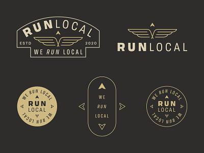 We Run Local badge local logo wing icon wing logo minimalist logo logo mark logo lockup typography compass running logo brand development identity branding wings arrow run logo local run