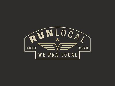 Run Local running shapes running logo minimal minimalist logo brand development branding brand identity lockup badge arrow wings wing logo local logo run logo local run