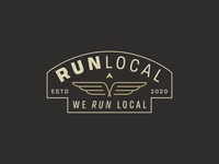 Run Local running shapes running logo minimal minimalist logo brand development branding brand identity lockup badge arrow wings wing logo local logo run logo local run