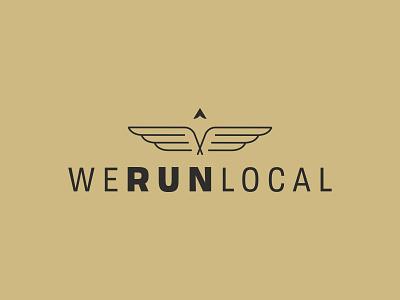WeRunLocal bird wing logo wings wing icon typography shapes running logo run logo run minimalist logo lockup local logo local identity compass branding brand identity brand development badge arrow