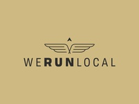 WeRunLocal bird wing logo wings wing icon typography shapes running logo run logo run minimalist logo lockup local logo local identity compass branding brand identity brand development badge arrow