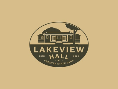 Lakeview Hall typeography one color estd lake logo tree state park south carolina sc simplified shapes building lake view lake identity oval branding brand development