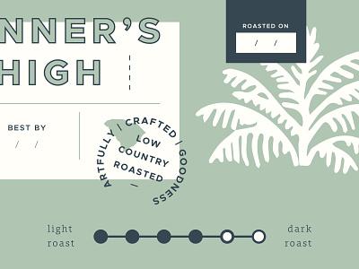 Coffee Label Sneak Peek - Pt. 1 south carolina package design packaging label label design stamp green dark roast low country palm tree run runner palm roasted coffee label coffee packaging coffee