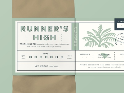 Runner's High Coffee Label - Pt. 2 high palm tree green low country roasted dark roast bag stamp palmetto south carolina label design package design coffee packaging run runner coffee label label packaging coffee