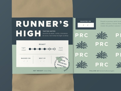 Runner's High Coffee Label - Pt. 3 pattern high stamp south carolina runner run roasted palm tree palmetto packaging package design low country label design label green dark roast coffee packaging coffee label coffee bag
