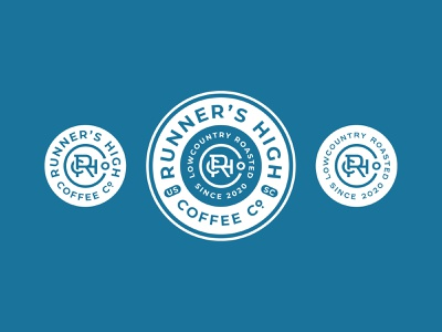 RHC Co. coffee branding coffee logo simplified circle identity south carolina running run runner company coffee badge badge design logo branding monogram brand development