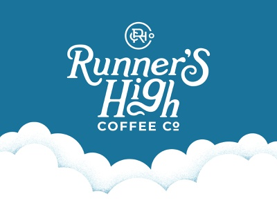RHC co. cloud illustration coffee branding sky circle runner run coffee logo monogram clouds vector brand development identity logo branding