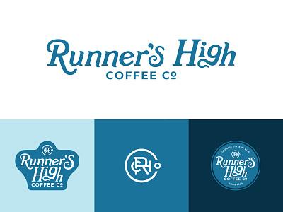 RHC Co. blue running badge vector runner run logo identity coffee logo coffee company coffee branding monogram circle branding brand development
