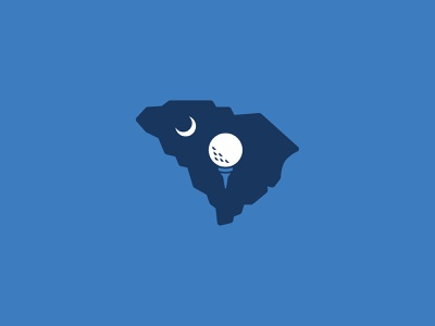 SC Golf shapes graphic vector south sports tournament blue golf tee tee logo state golf ball golf moon south carolina sc