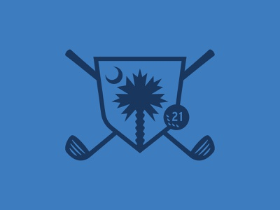 Palmetto Championship sc graphic shapes south carolina south icon shield golf ball vector blue moon palm tree palm palmetto golf clubs golf logo logo mark