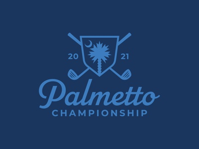 Palmetto Championship icon vector logo mark moon shield south sc south carolina logo script golf ball golf club golfing championship golf palm tree palm