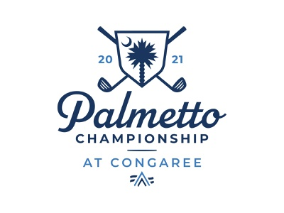 Palmetto Championship at Congaree branding blue identity palmetto palm palm tree tournament championship golf club golfing golf ball script logo south carolina sc south shield moon logo mark