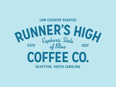 RHCCo. south roasted low country coffee company script brand development south carolina identity run blue runner running coffee lockup