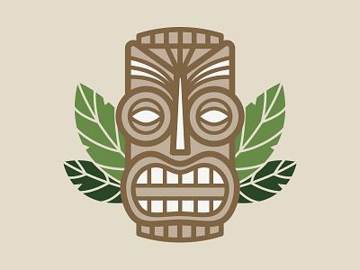 Tiki Head vector wood hawaii face green island leaves skull polynesian tiki luau hawaiian