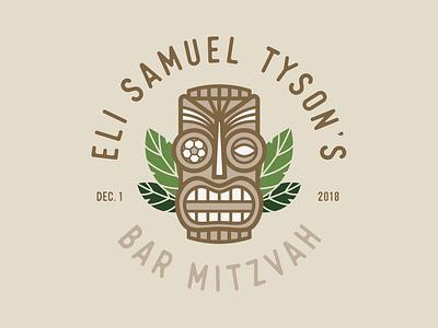 Tiki Head Logo vector skull luau green wood leaves party tiki soccer hawaii hawaiian bar mitzvah face