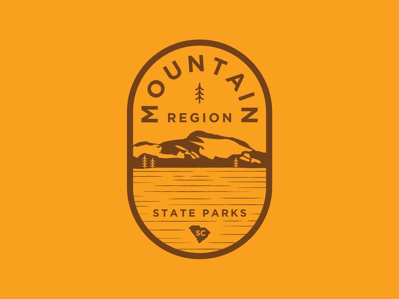 Mountain Region state park logo seal brown branding vector logo orange south carolina region state park mountain lake water tree