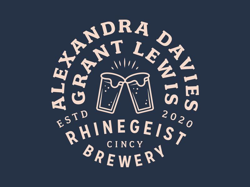 Wedding Badge 2020 established branding type circle lockup pink vector navy blue rhinegeist brewery rhinegeist cincy cincinnati cheers beer brewery wedding badge design badge
