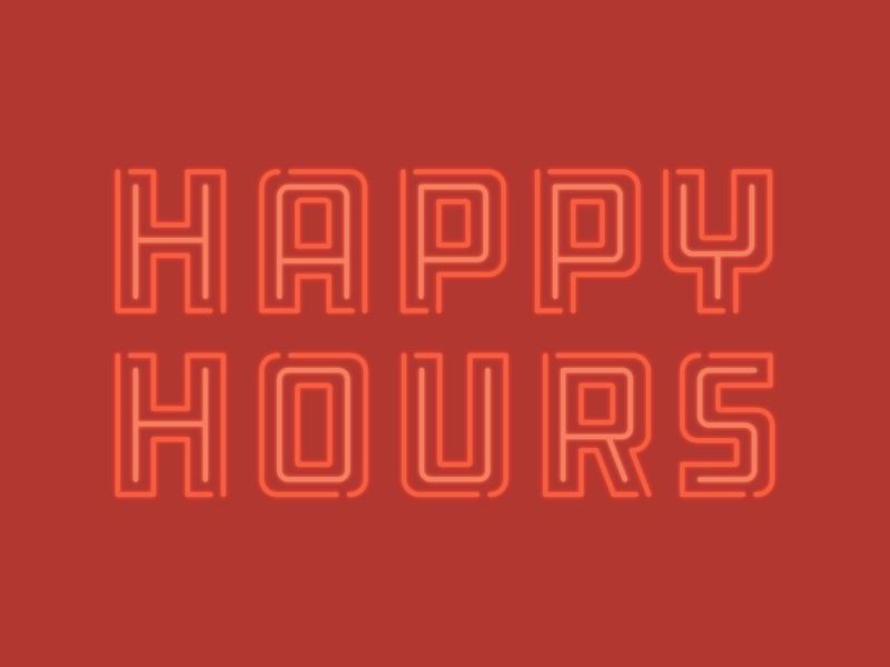 Happy Hours logo event logo identity logotype typography branding vector red neon sign happy hour happy hours hardware ddc neon