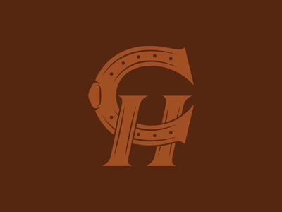 Monogram mark logotype venue carriage identity branding vector logo brown leather equestrian horse horseshoe monogram