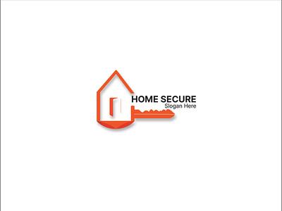 Home Secure Logo Design psd logo psd protection protect logo lock living key identity house home first estate corporate burgular building app alarm