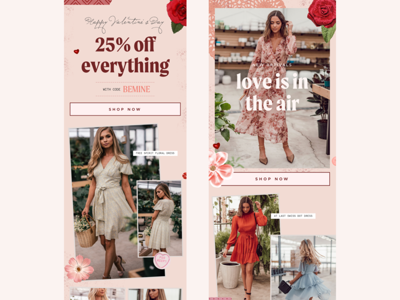 Happy Love Day Email Design ❤️ email marketing newsletter feminine texture clothing valentines day email template email email designer email design