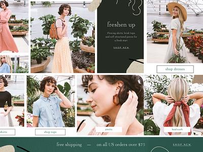 Fashion Collage texture feminine shopify design web design website designer womens clothing ecommerce shopify website design collage fashion
