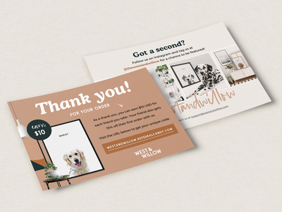 West & Willow Postcard Insert Design postcard design pets printing print design postcard insert print