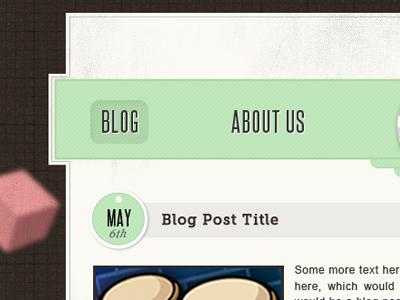 Work in Progress.. blog header blog title header navigation texture website web designer green brown grid date