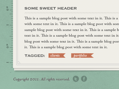 Blog Footer blog blog footer footer paper texture ribbon ruler social icons