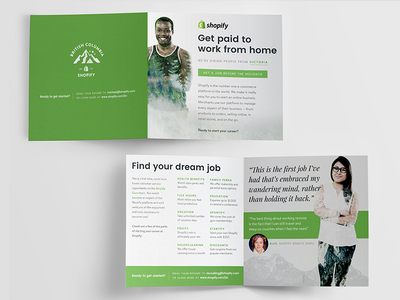 Shopify Direct Mailer Careers print green bi-fold pamphlet brochure typography mail mailer direct mail shopify careers jobs