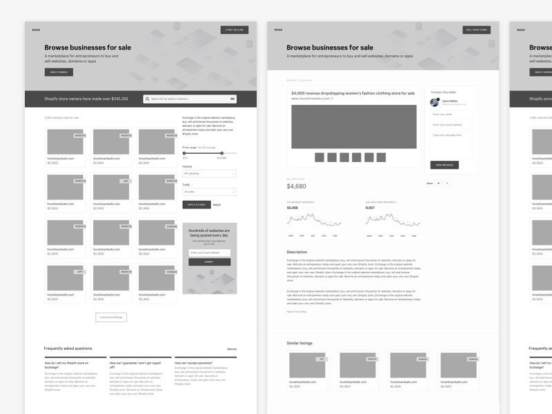 Exploratory Wireframes  marketplace web layout shopify landing page wireframe