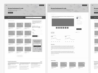Exploratory Wireframes marketplace web layout shopify landing page wireframe