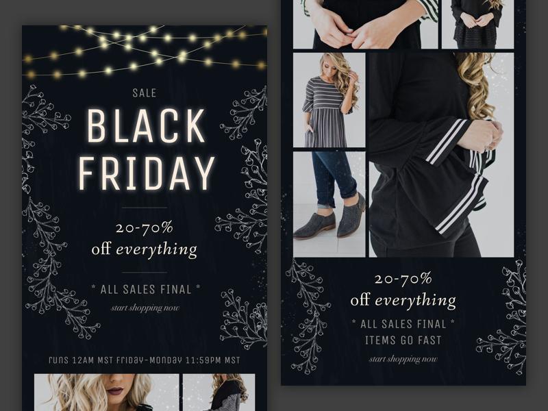 Email Design  –Black Friday & Cyber Monday clothing fashion women dark typography moody eblast newsletter email design mail emails email