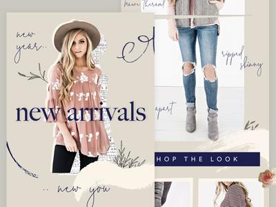 New Arrivals Email fashion newsletter design typography handwritten feminine email design eblast newsletter mailchimp email