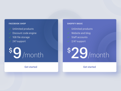 Pricing Table – Facebook Shop facebook web shopify purple price pricing table gradients circles table pricing