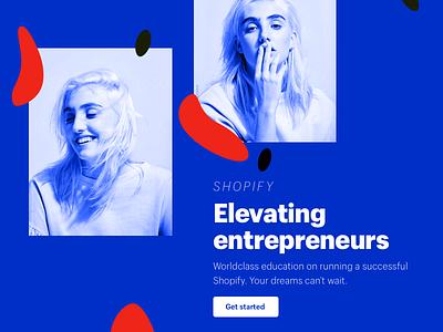 For fun landing page lander web bright bold entrepreneurs typography blue shopify