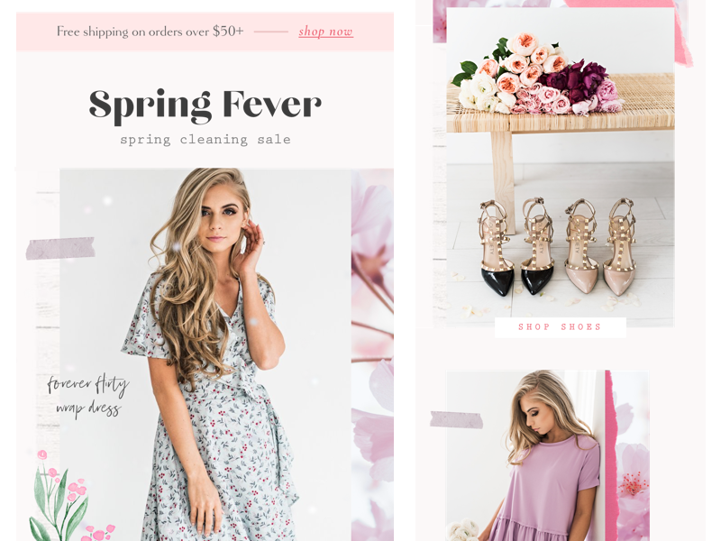 More Emails pastel spring flowers pretty feminine ecommerce eblast newsletter email design emails mail email