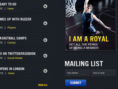 Royals Basketball Website basketball basketball website sports sports team trade gothic dark headlines news mailing list submit
