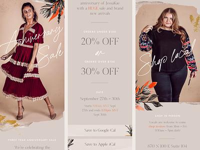 Sale Email –Women's Clothing feminine newsletter design newsletter email template email marketing mailchimp eblast email design email texture