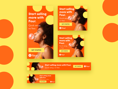 Pay with Four –Ad Work playful colorful bright advertising google ads ad design