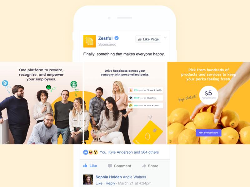 Facebook Ads –Zestful facebook banner carousel colorful bright digital ads advertising ad design facebook ads facebook ad facebook