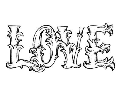 Love handlettering typeography type dropcap flourish stipling stiple shadowing love