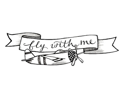 Fly With Me travel propeller illustration checkers soar adventure explore fly banner aircraft plane