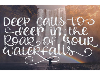 Waterfalls texture sketch rainbow bible verse quote roar waterfall verse lettering hand lettering