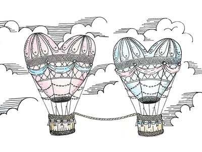 Hot Air Balloons wip float clouds sky hearts romance love balloon illustration hot air balloon
