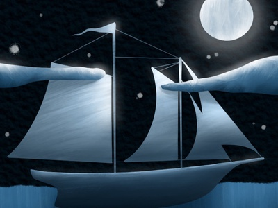 DreamWorld Series: Whale dream childrens illustration stars ocean moonlight pirate ship ship whale illustration adventure