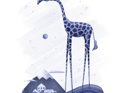 DreamWorld Series: Giraffe storyteller girl mountain children illustration children book illustration tall dreamy dream giraffe design illustration adventure